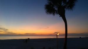 sunset on beach last