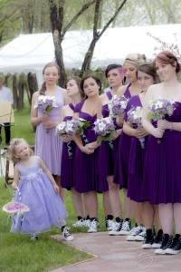 ceremony bridesmaids and flower girl
